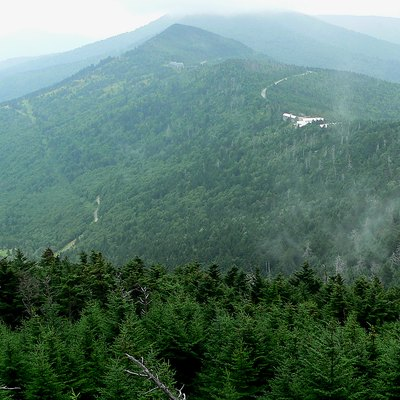 View from Mount Mitchell. At 6,684 ft (2,037 m), Mount Mitchell in North Carolina is the highest peak east of the Mississippi River