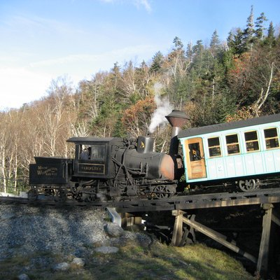 Locomotive Kroflite and train at the Base Station of the Mount Washington Cog Railway