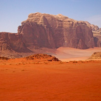 A mountain near the entrance to Wadi Rum in Jordan.