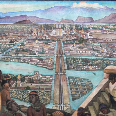Mexico City - Palacio Nacional. Mural by Diego Rivera showing the life in Aztec times, i.e., the city of Tenochtitlan.