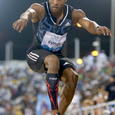 Portugal's Nelson Evora competes in the men's triple jump at the Doha Diamond League.