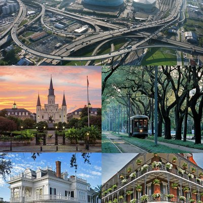 Montage of various parts of New Orleans.