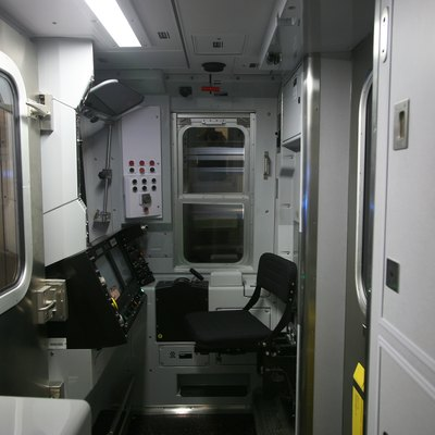 Driver's cab of an R160B subway car on the N train