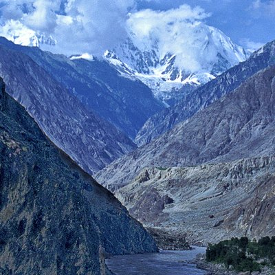 The deepest canyon in the world, the Indus Gorge with Nanga Parbat, the world's 9th highest mountain rising to the south.The Silk Route (Near Gilgit), Pakistan