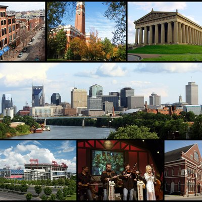 Collage of Nashville landmarks. Top row: 2nd Avenue, Kirkland Hall (Vanderbilt University), The Parthenon; Middle row: Nashville Skyline; Bottom row: LP Field, Grand Ole Opry, Ryman Auditorium.