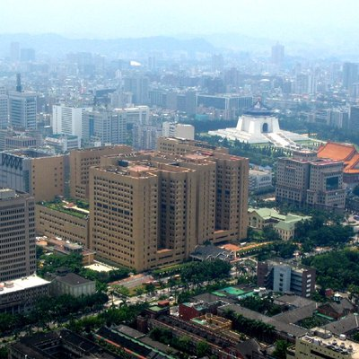 The National Taiwan University Hospital (center of picture).Picture taken on the observation deck of the Shin Kong Life Tower.