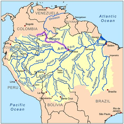 This is a map of the Amazon River drainage basin with the Rio Negro highlighted.