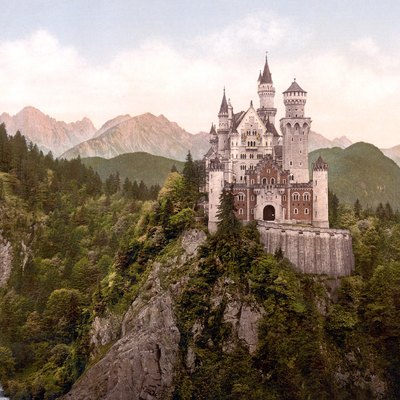 Photochrom Print Of The Front Of Neuschwanstein Castle, Bavaria, Germany, Taken As Few As Ten Years After The Completion Of The Castle.