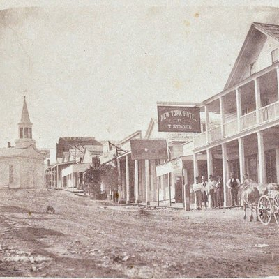 Nevada City c 1856 by Julia Ann Rudolph (c. 1820-c. 1900)[1] was a 19th century American studio photographer active in both New York and California.- c 1856