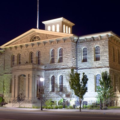 The Nevada State Museum, in Carson City, Nevada, at night.