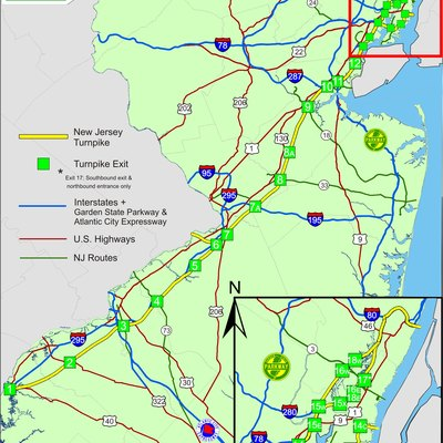 Map of New Jersey Turnpike with exits.