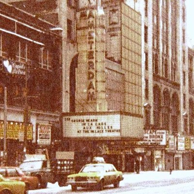 Looking west at New Amsterdam Theater, 42nd St., New York, before renovation of area