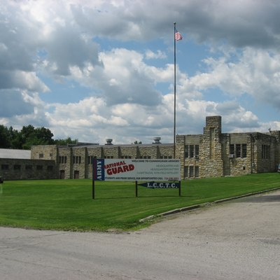 Eastern side of the New Castle Armory, located at 820 Frank Avenue in Shenango Township, Lawrence County, Pennsylvania, United States, on the southern side of the city of New Castle. Built in 1938, it is listed on the National Register of Historic Places.