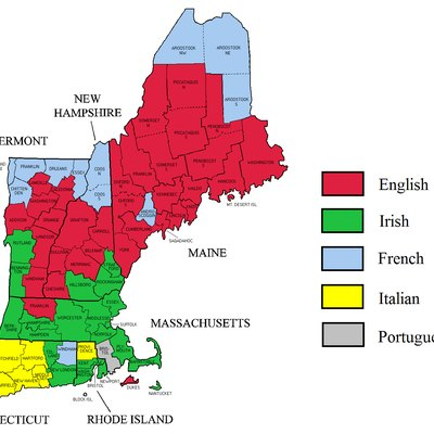 Largest self-reported ancestry groups in the six New England states. Data from 2000 census.