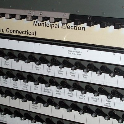 Voting machine in New London, Connecticut