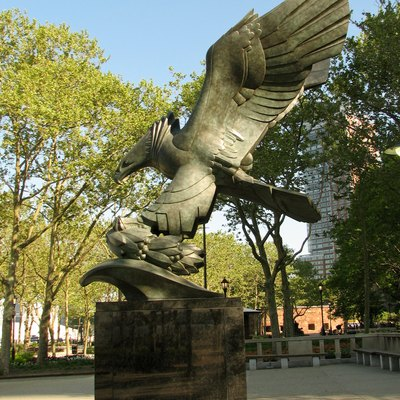 The eagle statue, which was created by Albino Manca, an Italian-born sculptor, is part of the East Coast Memorial in Battery Park.