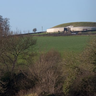 Newgrange at a distance. County Meath, Ireland.