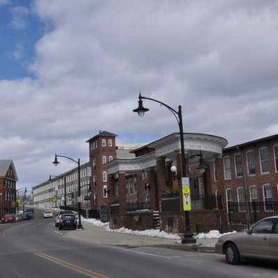 Main Street (RT 108) in Newmarket, New Hampshire; part of the Newmarket Industrial and Commercial Historic District.