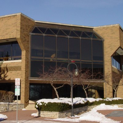 Exterior of the 1986 Nichols Library building, at the building's southeast corner (Jackson and Eagle Streets) in Naperville, Illinois, USA.