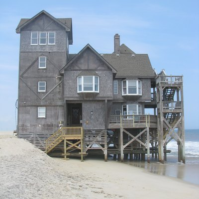 The rental house Serendipity which was used in the 2008 film Nights in Rodanthe located in Rodanthe, North Carolina. This is the south facing side of the house.