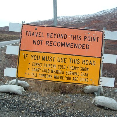 Road sign, 2 miles north of Nome, Alaska