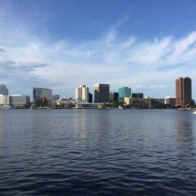 Skyline of Norfolk, Virginia from across the Elizabeth River in 2016
