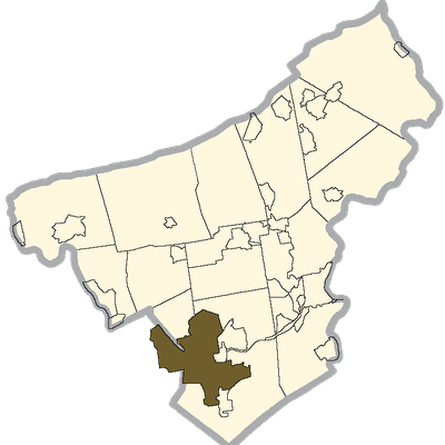Bethlehem Shaded On The Map Of Northampton County. Note That A Part Of Bethlehem Is Actually In Lehigh County.