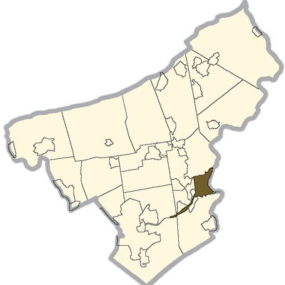 Easton Shaded On The Northampton County Map.