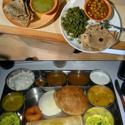Top: Home cooked lNorthern/Western Indian lunch delivered to the office by the tiffin wallah; Bottom: South Indian thali style dinner