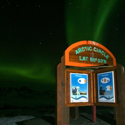 View of the Aurora Borealis (northern lights) at the Arctic Circle in Yukon, Northwest Territories.