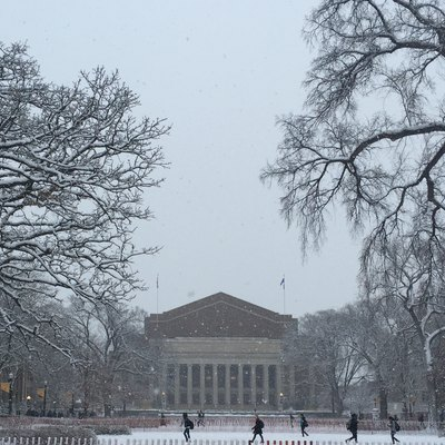 Snowfall at Northrop Mall at the University of Minnesota in December, 2015