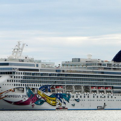 Cruise ship Norwegian Jewel lying at anchor in Newport Harbor, Rhode Island on September 12th 2010.
