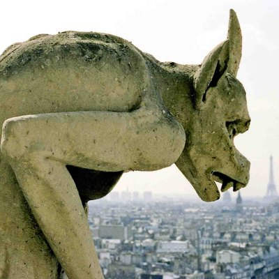 Photo by John Cornellier. Free content. Gargoyle at Notre Dame Cathedral, Paris.