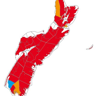 Mother tongue in Nova Scotia: Red – majority anglophone, Orange – mixed, Blue – majority francophone.
