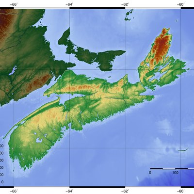 Topography of Nova Scotia, created with GMT 5.1.2