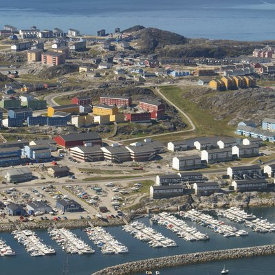 Aerial view of the Nuussuaq district of Nuuk, the capital of Greenland. Photographed from the Air Greenland de Havilland Canada Dash-7 during the Sisimiut-Nuuk flight.