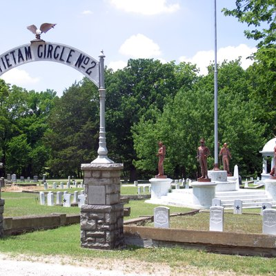 Circle No. 2 (foreground) and Circle No. 1 (background, at right) in Oakwood Cemetery, Parsons, Kansas. The Grand Army of the Republic, Antietam Post No. 64 purchased the lots for the first circle in May of 1886 and for the second circle in 1889.