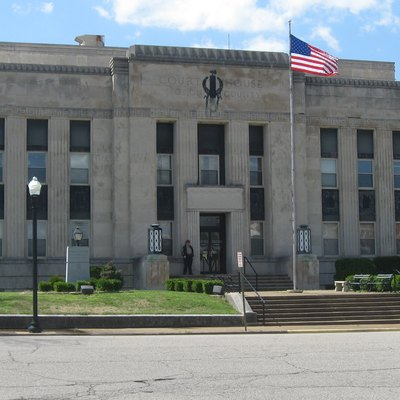 Front of the Obion County Courthouse, located at the junction of Third and Washington Streets in Union City, Tennessee, United States. Built in 1939, it is listed on the National Register of Historic Places.