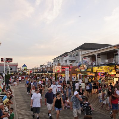 The boardwalk of Ocean City, Maryland