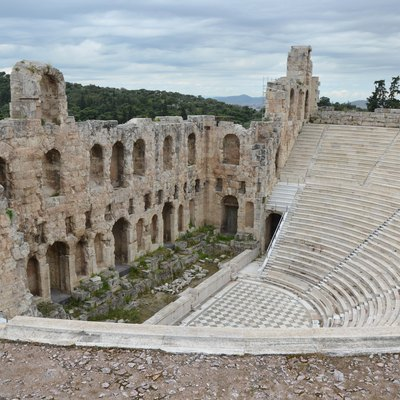 Odeon of Herodes Atticus, built in 161 AD on the south slope of the Acropolis of Athens in memory of his wife Annia Regilla, Athens, Greece