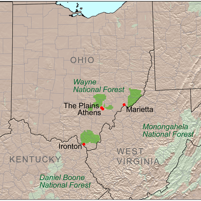 Map showing the location of Wayne National Forest in Ohio. Daniel Boone National Forest in Kentucky and Monongahela National Forest in West Virginia are also shown.