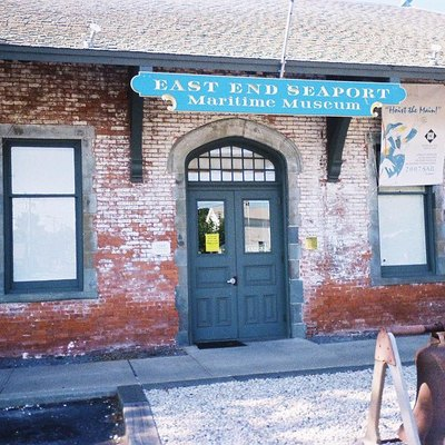 Photo of the entrance to the Old Greenport Station, which is now the East End Seaport Maritime Museum. Taken by me on July 1, 2007.