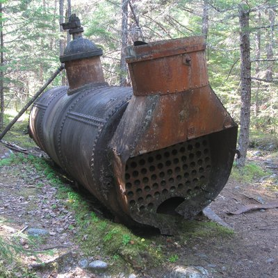 Remnant of Chilkoot tramway boiler at Canyon City, 2009