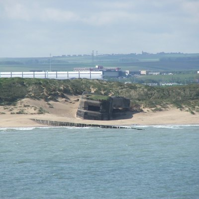 Old bunkers at the sea shore of Calais, France