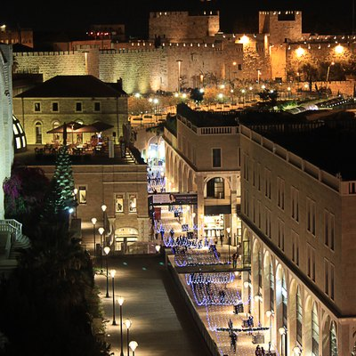Old city walls and Mamilla ave. at night - as seen from