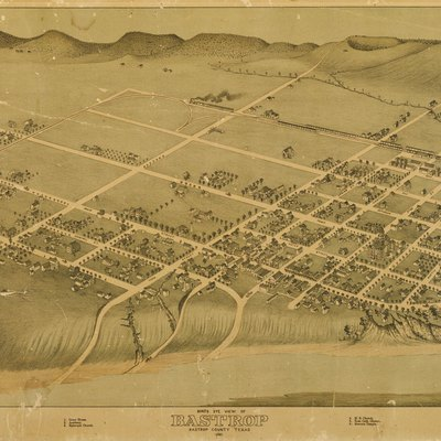 Bastrop, Texas In 1887. Birdrsquos Eye View Of Bastrop Bastrop County Texas 1887, 1887. Lithograph, 16.6 X 22.9 In. Lithographer Unknown. Bastrop County Historical Society.