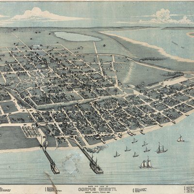 Corpus Christi, Texas In 1887. Bird'S Eye View Of Corpus Christi. Nueces County, Texas. 1887, 1887. Lithograph, 21 X 28 In. Lithographer Unknown. Corpus Christi Public Library.