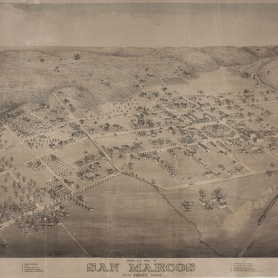 San Marcos, Texas In 1881. Bird'S Eye View Of San Marcos In Hays Co. Texas, 1881. Lithograph. Size And Lithographer Unknown. Private Collection.