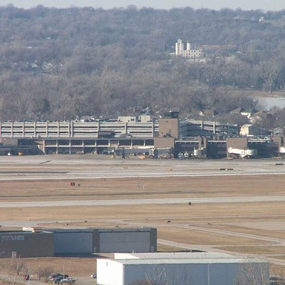 The Eppley Airfield (OMA) is located just a few miles northeast of downtown Omaha, Nebraska. Carter Lake is shown just behind the main terminal to the east.