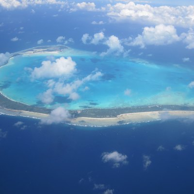 Onotoa Atoll from the East, from an airplane midway from Tabiteuea and Arorae atolls, Gilbert Islands, Republic of Kiribati, Central Pacific.
